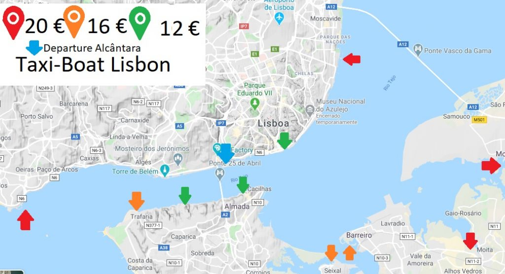 Taxi-Boat-Lisbon-map-with-10-destinations